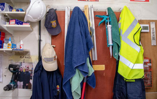 Tools and safety vests in maintenance room