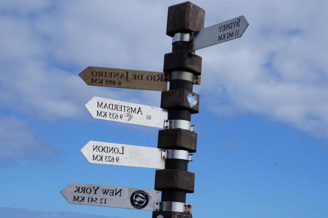Sign showing distances to differentcities round the world